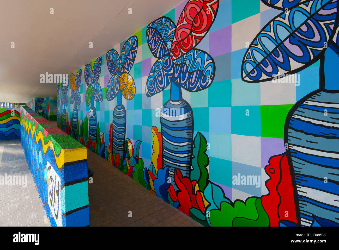 Murals on exterior of Miami-Dade County Public Schools building,  4th largest school district in the USA, in Miami, Stock Photo