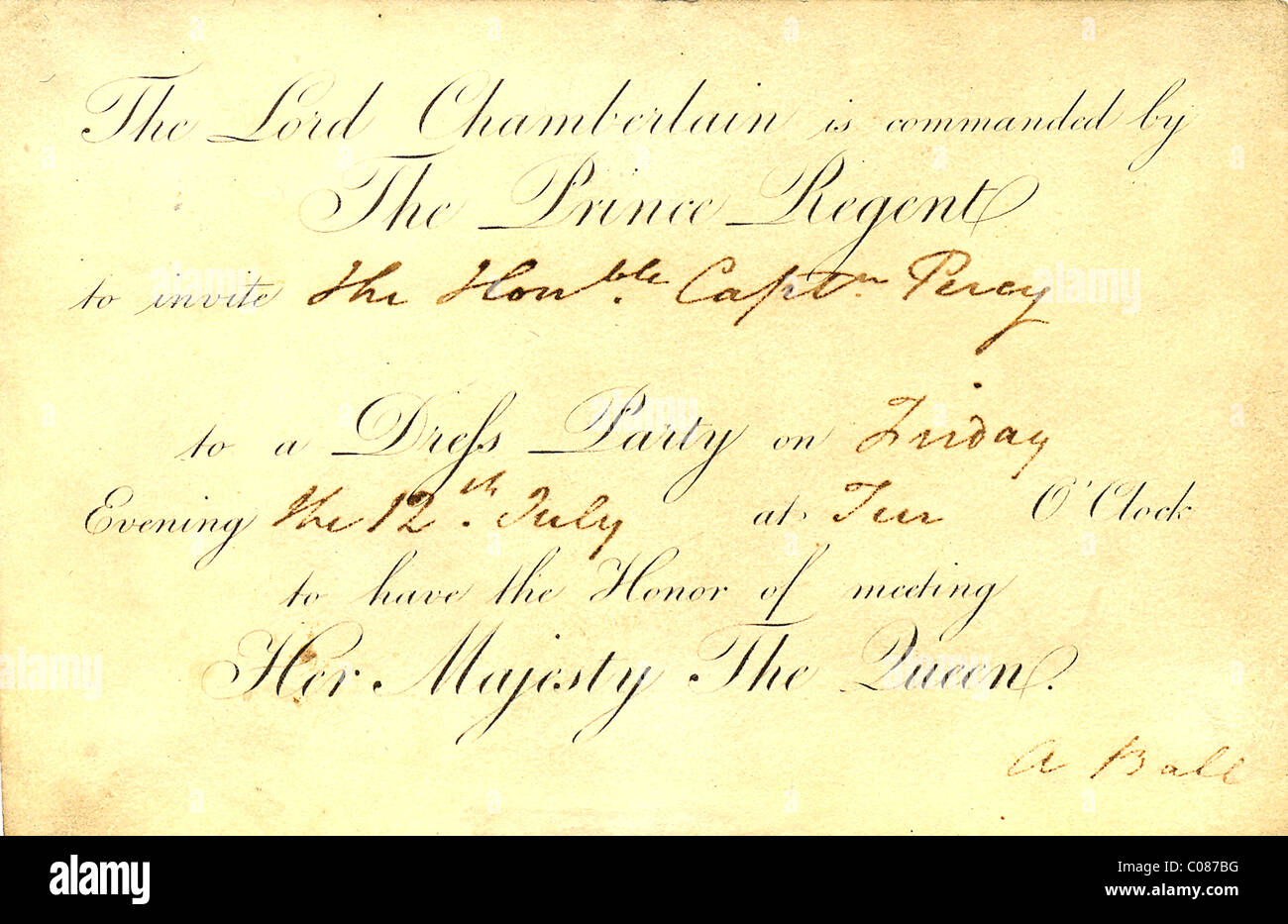 Invitation from the Prince Regent to a ball - Stock Image