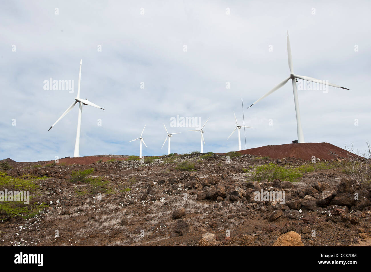 wind farm lava field Ascension Island South Atlantic Ocean - Stock Image