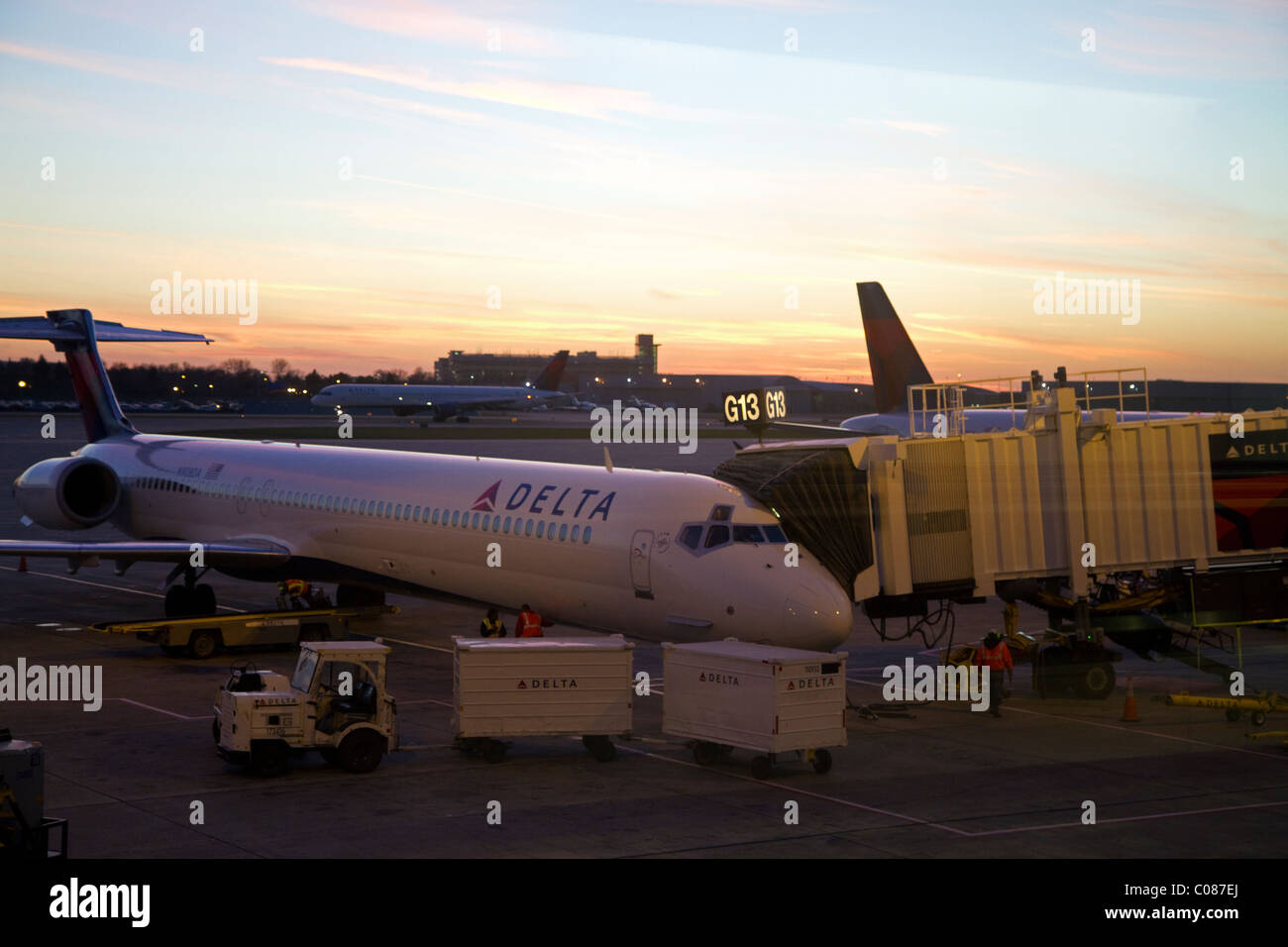 Delta airliner during sunset at the Minneapolis-Saint Paul International Airport located in Fort Snelling, Minnesota, - Stock Image