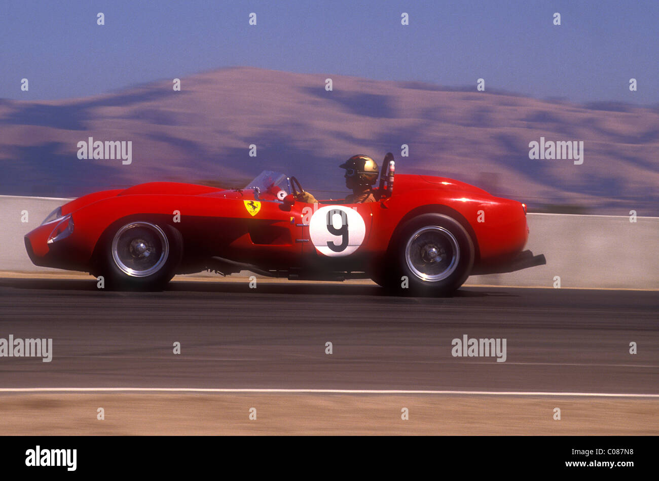 1950\'s Ferrari 250 TR racing at Monterey Historic races Laguna Seca ...