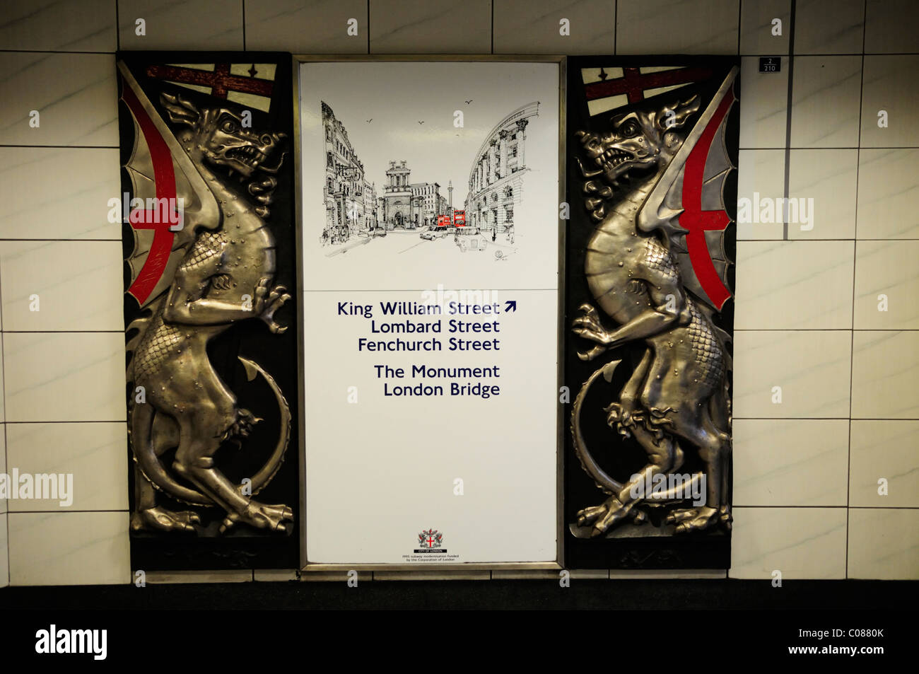 Exit from Bank Underground Tube Station Sign With City of London Dragon, London, England, UK - Stock Image
