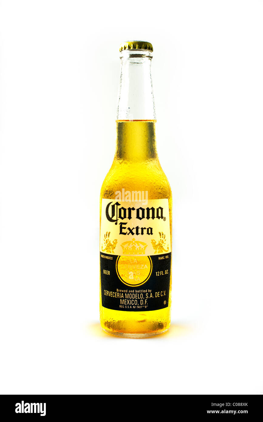 A Bottle of Corona Beer on a white background. - Stock Image