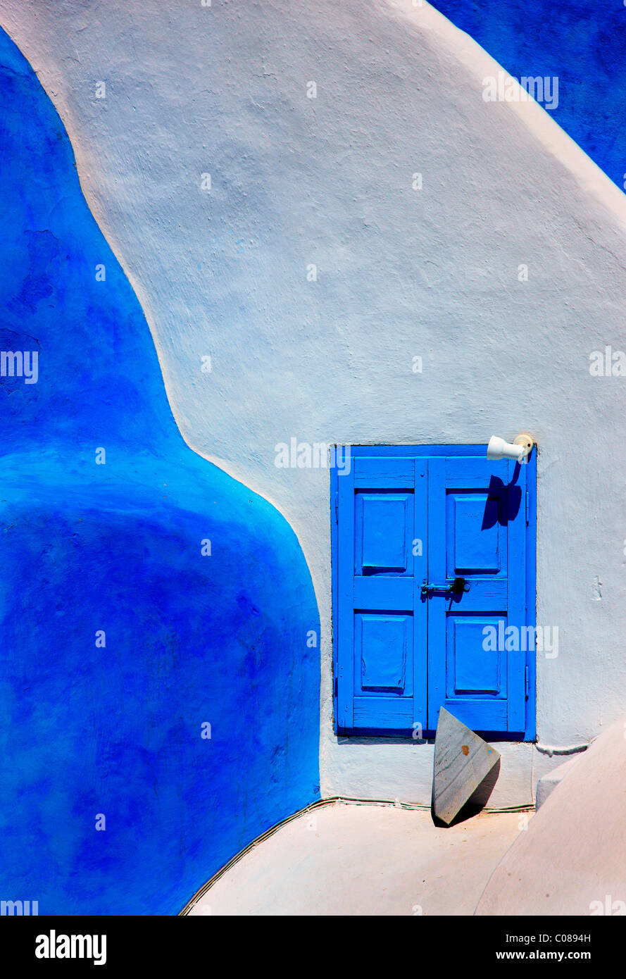 Beautiful, traditional, minimal, architecture, from Oia village, Santorini island, Greece - Stock Image