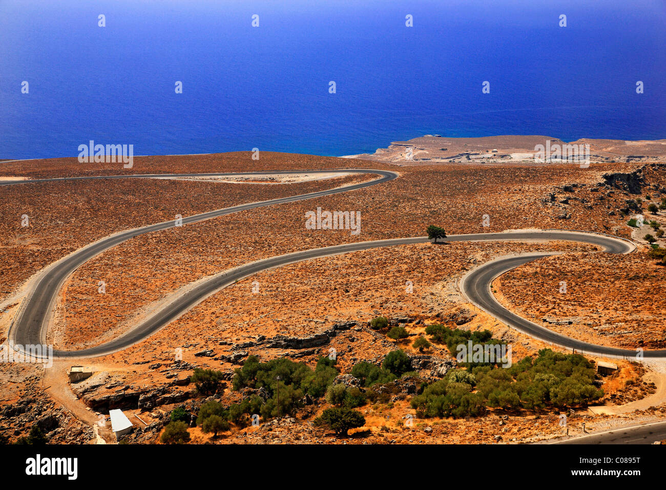 The road that lead to Hora Sfakion and Frangocastelo, to the south of Hania Prefecture, Crete, Greece - Stock Image