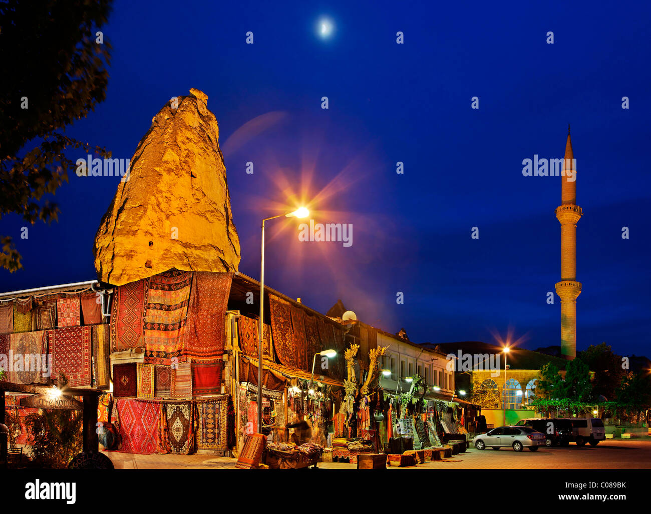 Goreme village in the heart of Cappadocia, in the 'blue' hour. Nevsehir, Anatolia, Turkey. - Stock Image
