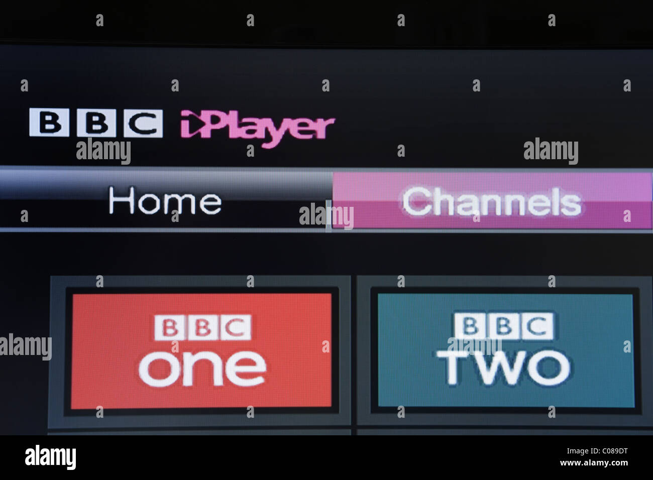 UK, Europe. Close-up of a flatscreen television showing BBC iPlayer beta channels on Freesat screen - Stock Image