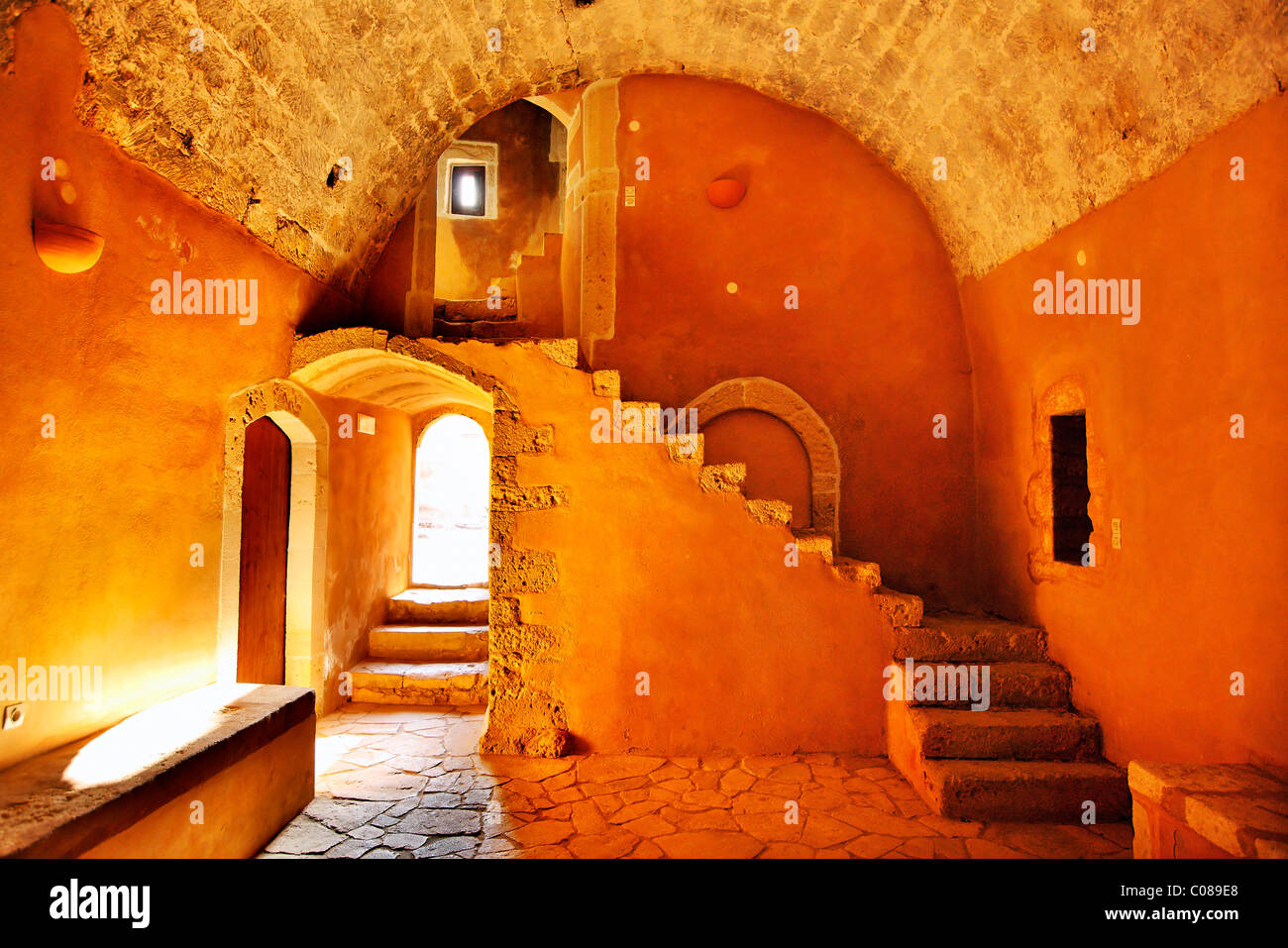 Interior view from one of he halls of Arkadi monastery, probably the old refectory. Rethymnon prefecture, Crete, - Stock Image