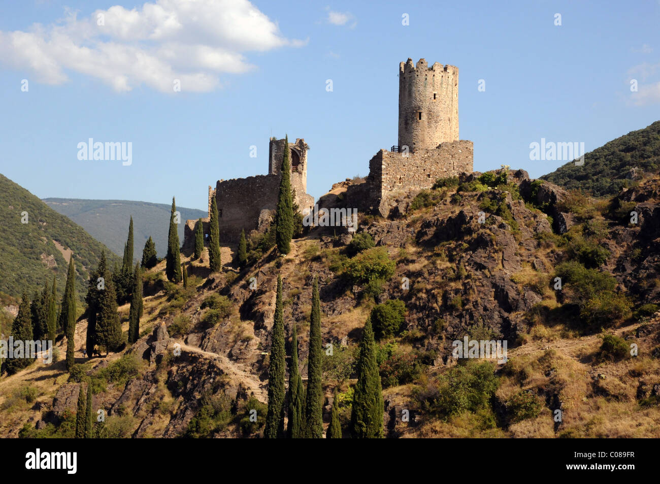 Cathar Castle at Las Tours in La Montagne Noire, Aude ...