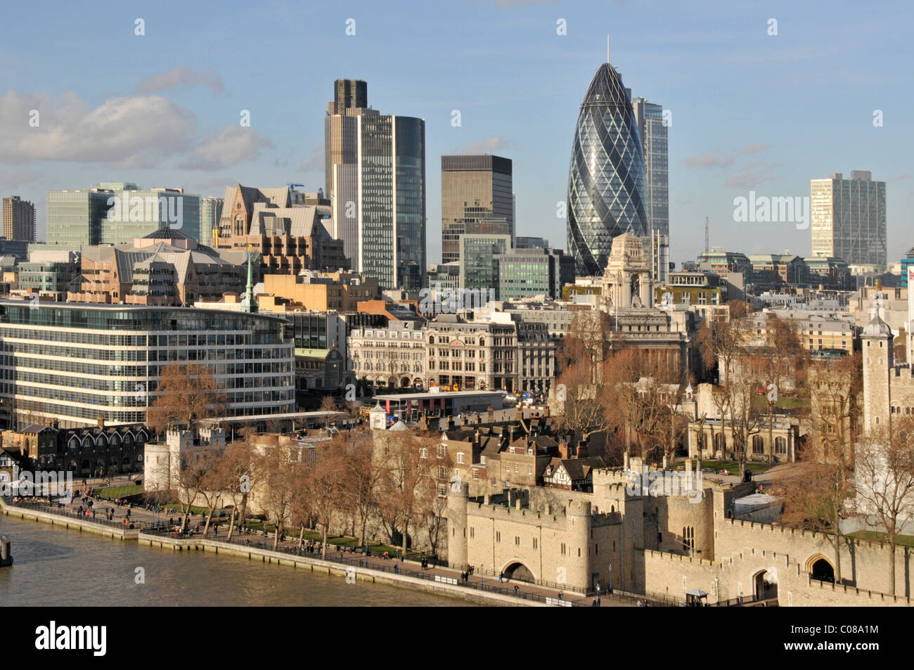City of London skyline and The Tower of London - Stock Image