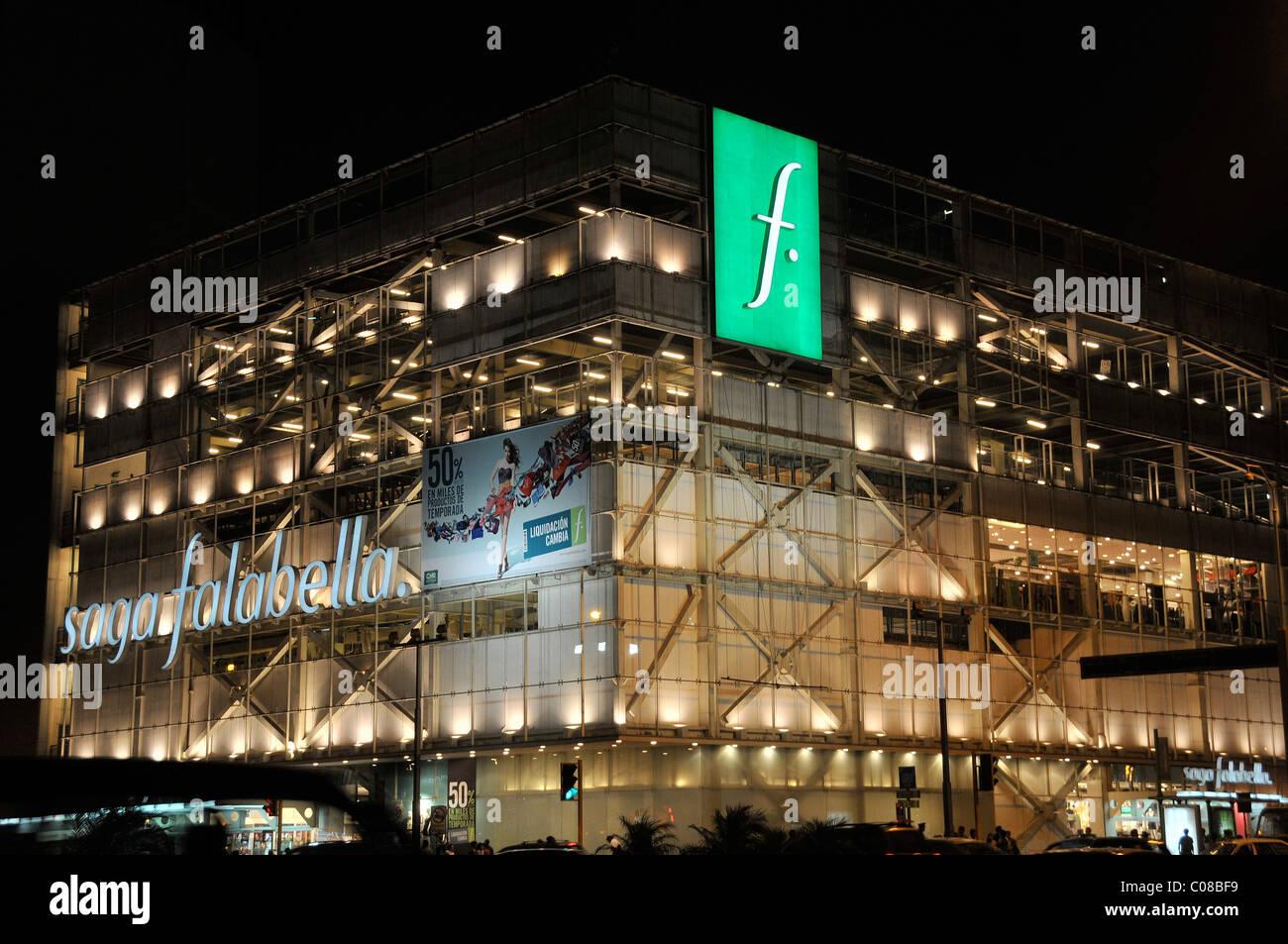 Saga Falabella Mall by night, Miraflores, Lima, Peru - Stock Image
