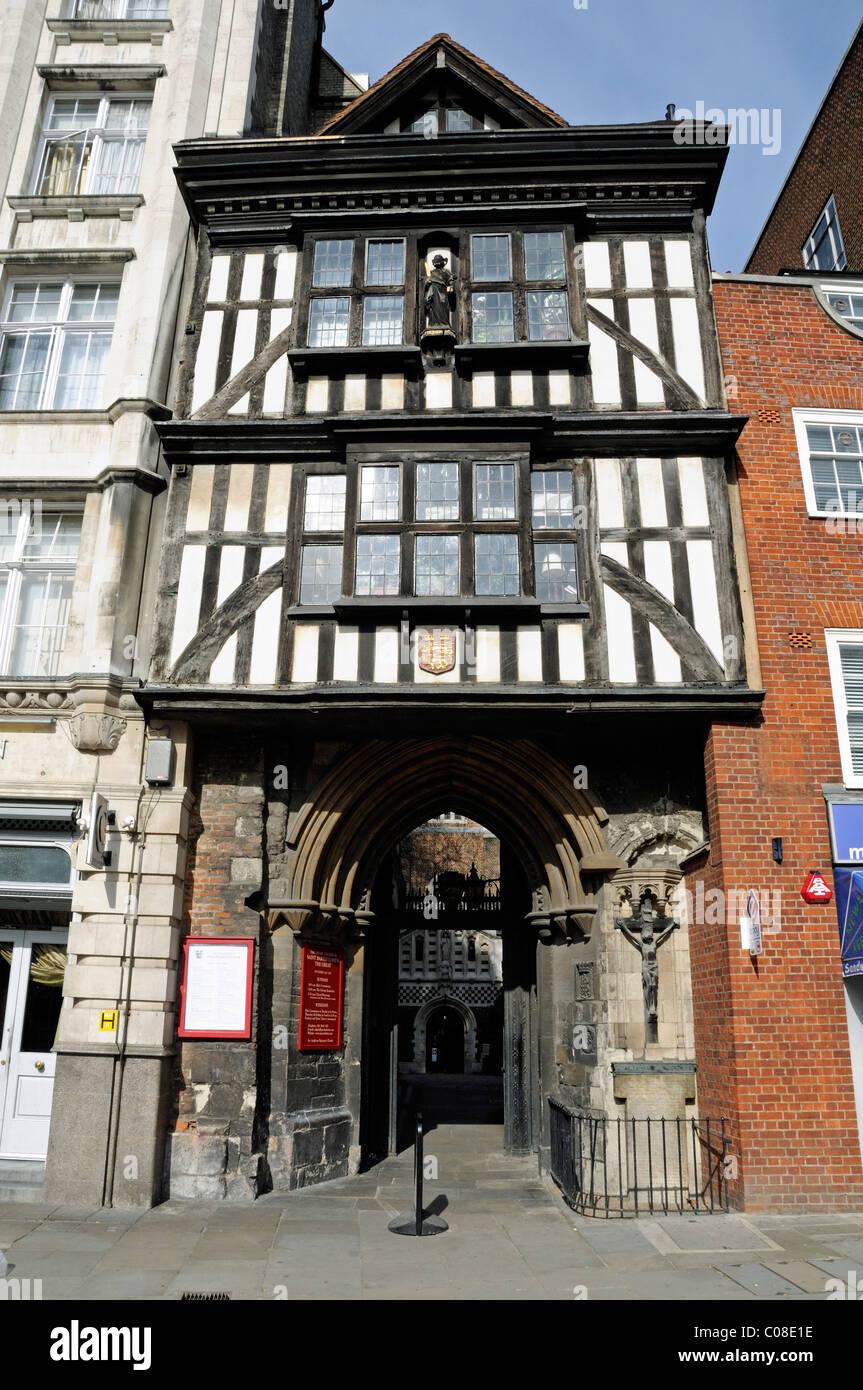 The gatehouse entrance to Saint Bartholomew the Great City of London England UK - Stock Image