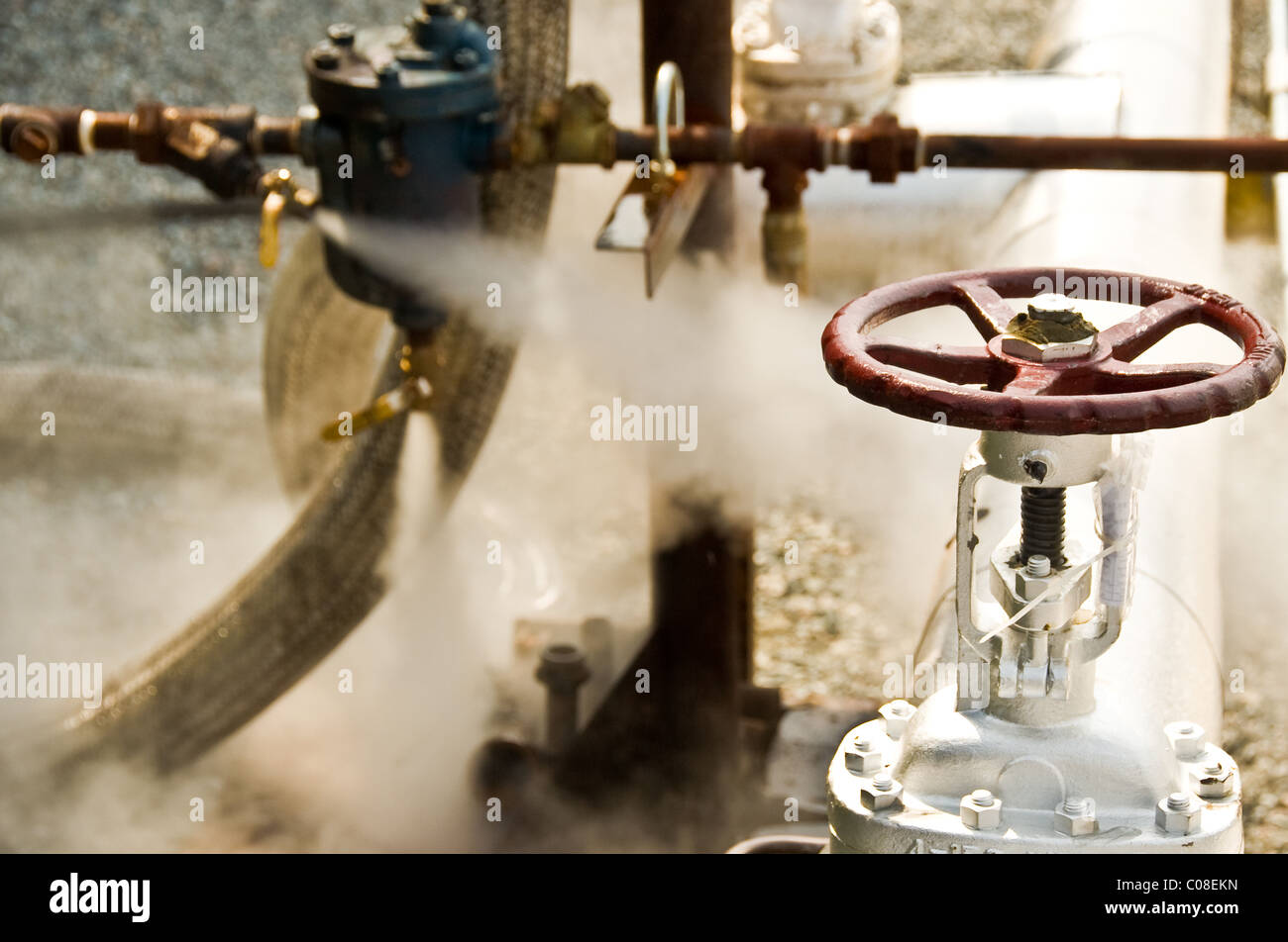 A red valve and a check valve releasing steam. - Stock Image