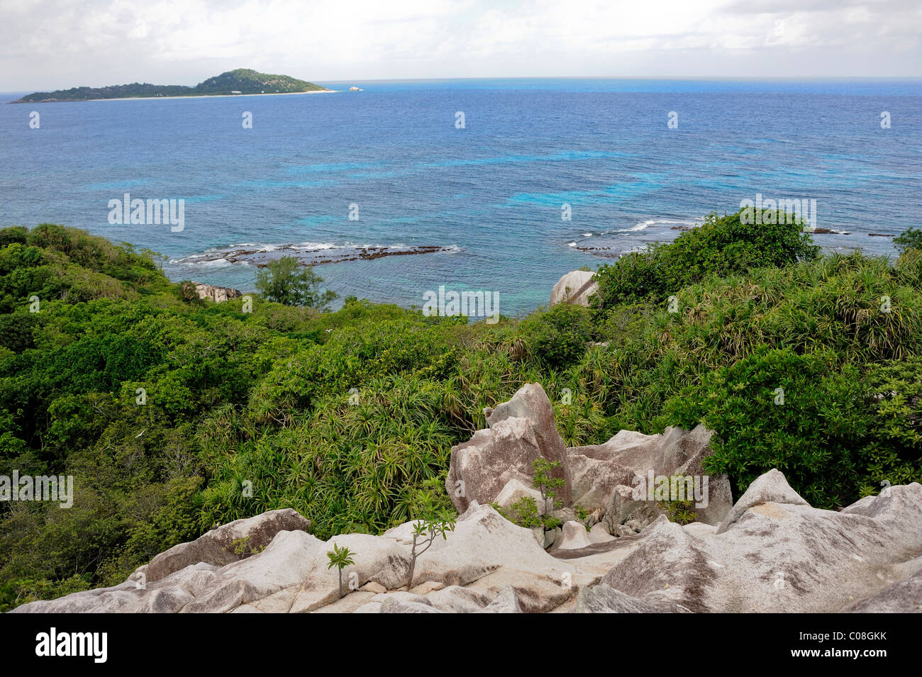 Cousin island, Praslin, Seychelles, Aerial panoramic view on Indian ocean - Stock Image