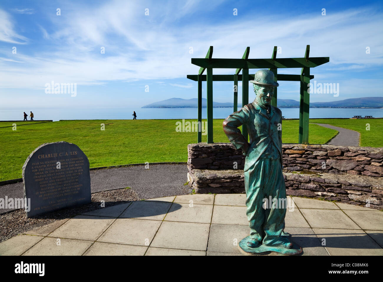 Sculpture by Alan Ryan Hall of Charlie Chaplin, a frequent visitor to Waterville, On the Ring of Kerry, County Kerry, - Stock Image
