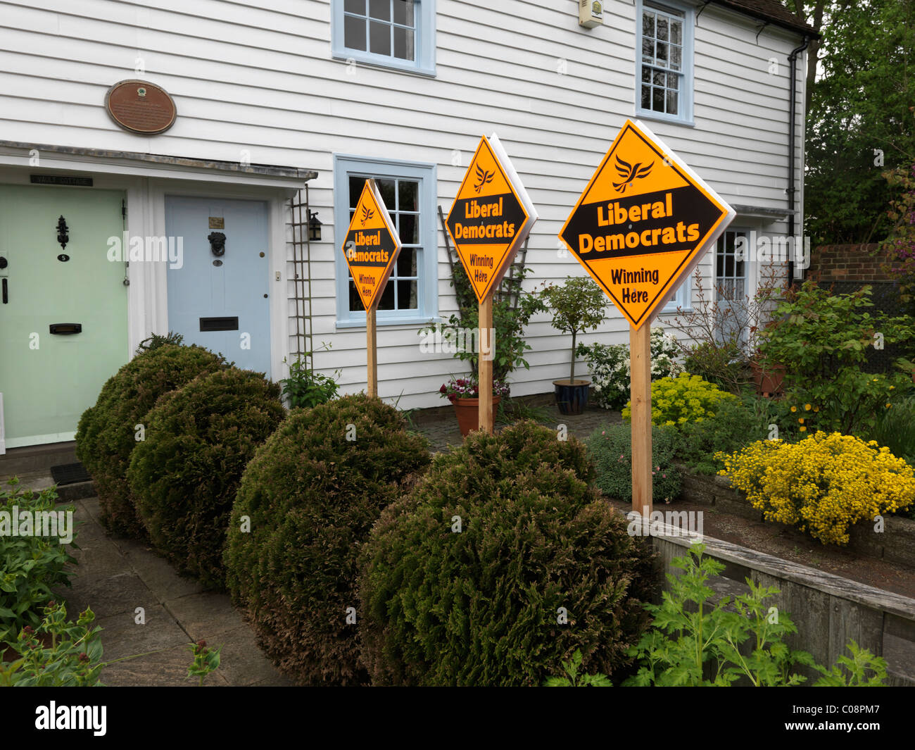 Cheam Surrey England Liberal Democrats Signs In Garden Outside weather boarded House At Election Time May 2010 - Stock Image