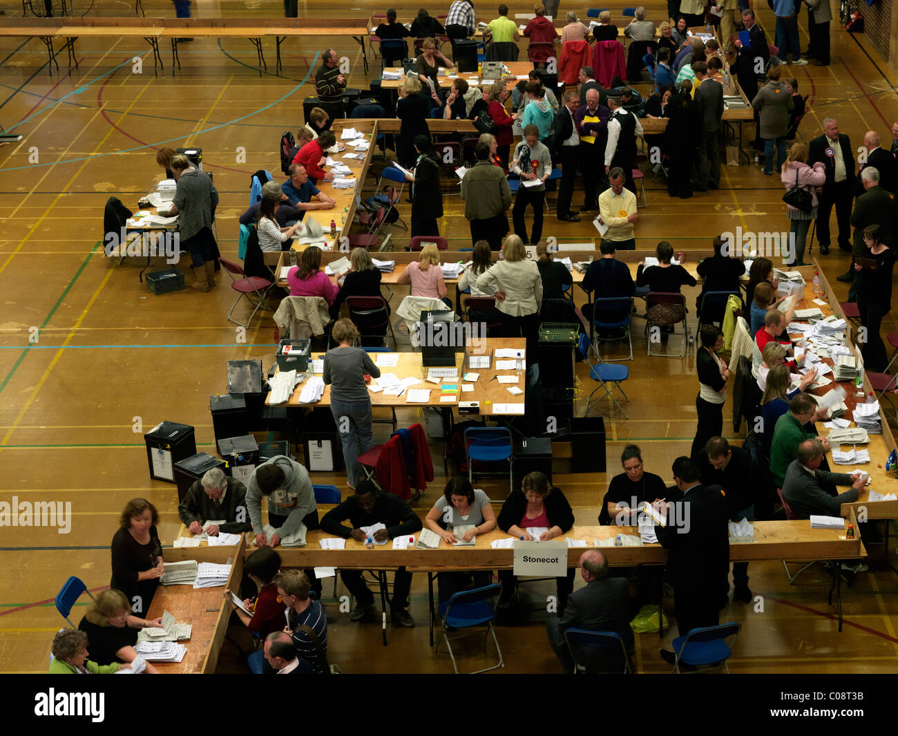 Counting Votes After General Elections May 2010 At Westcroft Leisure Centre Surrey England - Stock Image
