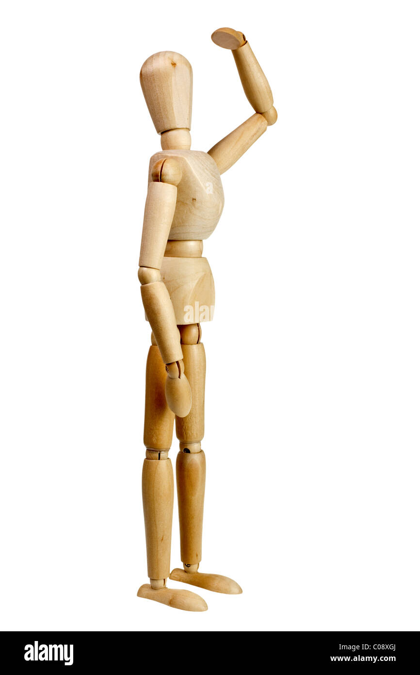 Wooden mannequin look far away isolated on white background - Stock Image