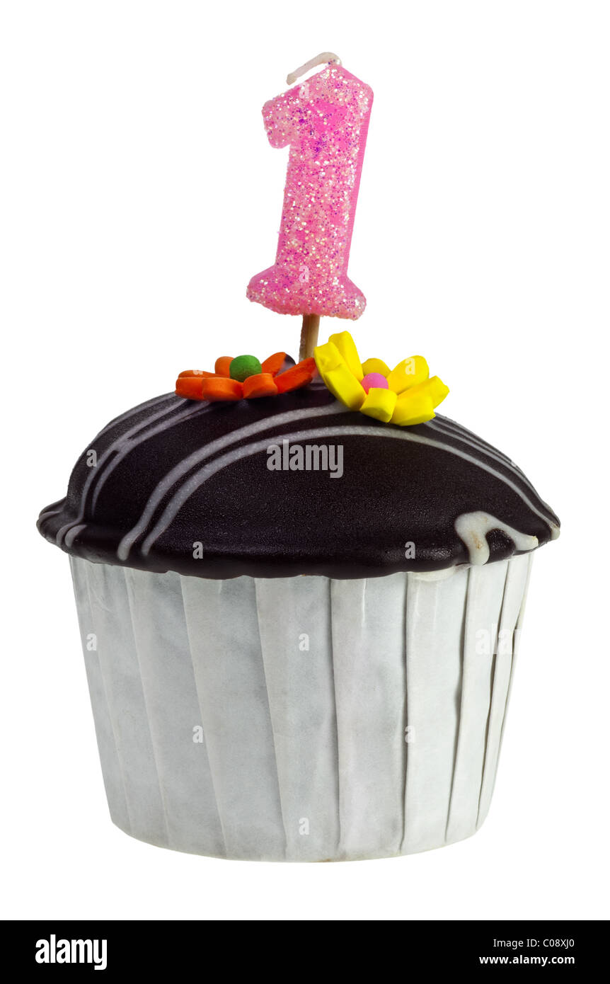 Cupcake With Birthday Candle For One Year Old Isolated On White Background