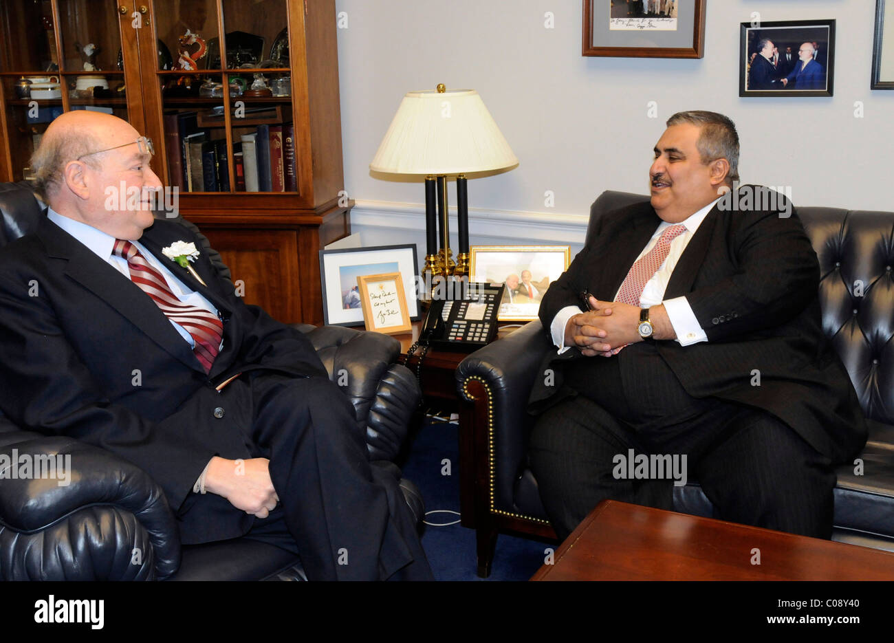 His Excellency Shaikh Khalid Bin Ahmed AL Khalifa, Minister of Foreign Affairs of the Kingdom of Bahrain meets with - Stock Image