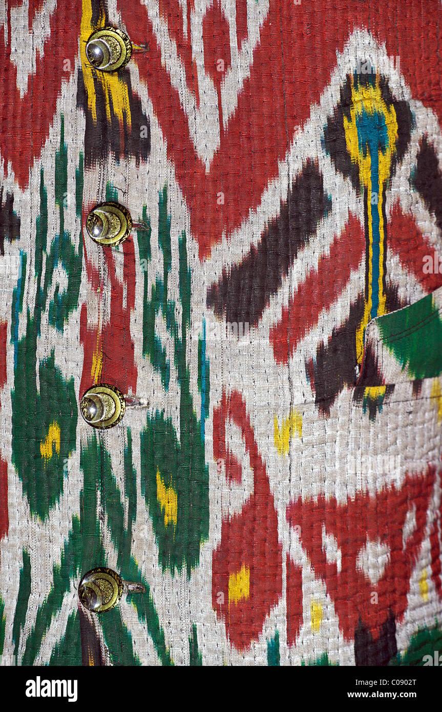 Woven ikat textile, Bukhara, Uzbekistan - Stock Image