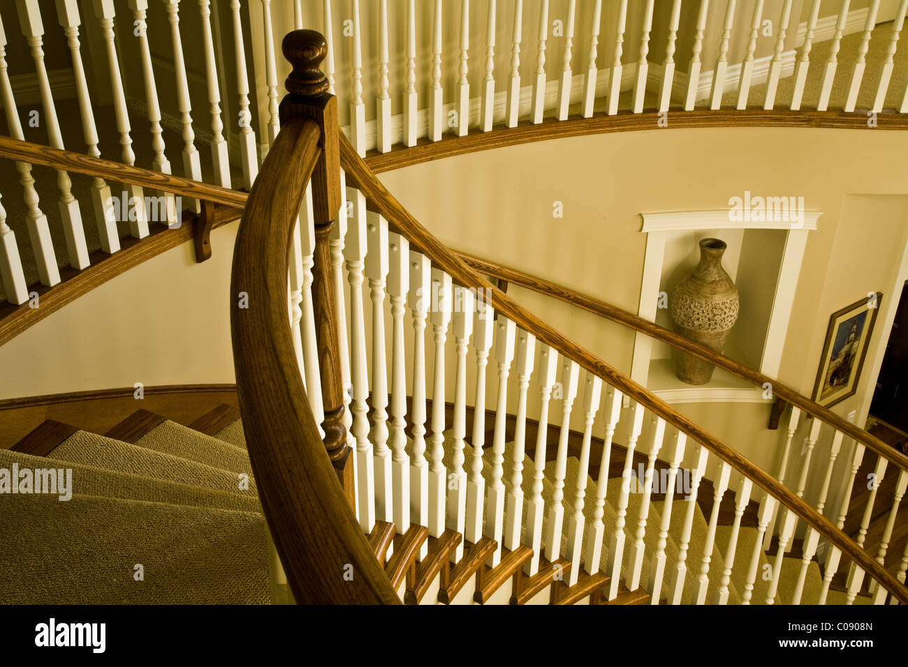 Abstract Image Of A Curved Residential Stairway   Stock Image