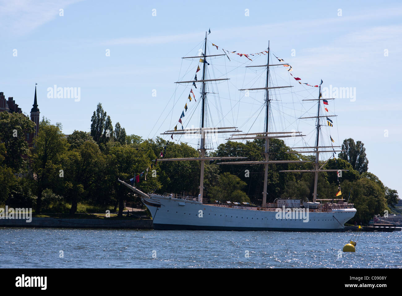 The AF Chapman, a square-rigged tall-ship that is moored at Skeppsholmen in the harbor in Stockholm, Sweden. - Stock Image