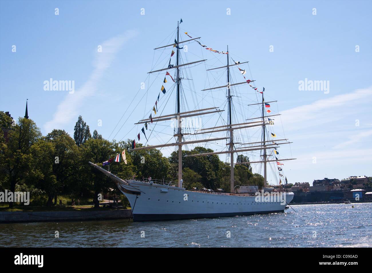 The AF Chapman, a square-rigged tall-ship that is moored at Skeppsholmen in the harbor in Stockholm, Sweden. Stock Photo