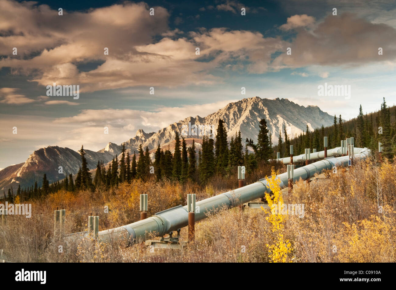 View of the Trans Alaska Pipeline winding next to the Dalton Highway into the Brooks Range north of Sukapak Mountain, - Stock Image
