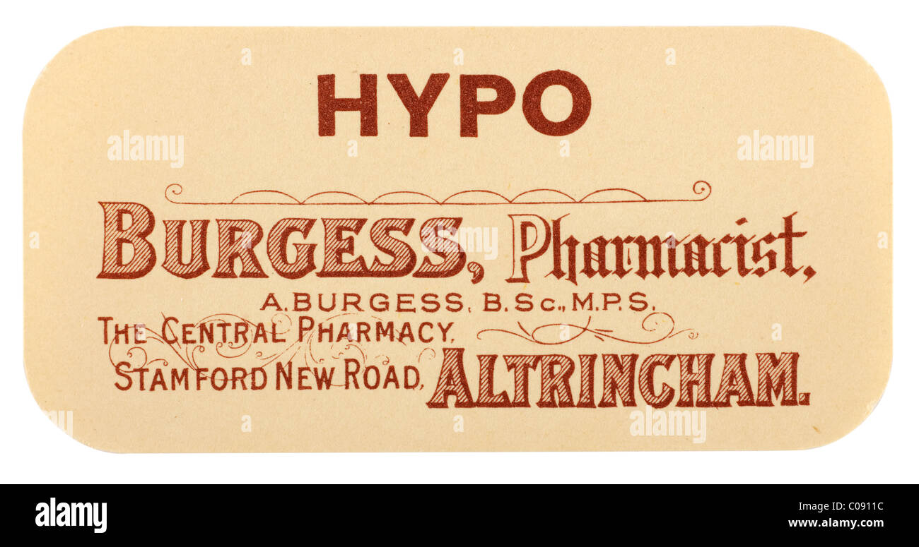 Old vintage chemist label for Hypo from A H Burgess of Altrincham. EDITORIAL ONLY - Stock Image