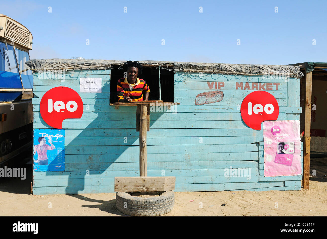 Vendor in the VIP Market shop in the Mondesa township, Swakopmund town, Namibia, Africa - Stock Image
