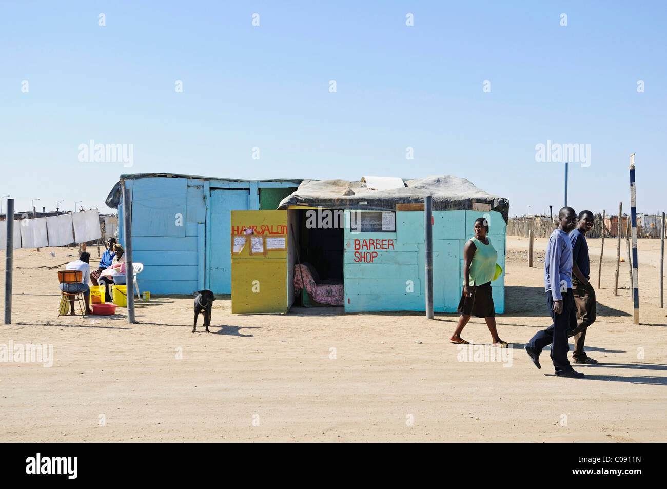 Barber shop in the Mondesa township, Swakopmund town, Namibia, Africa - Stock Image