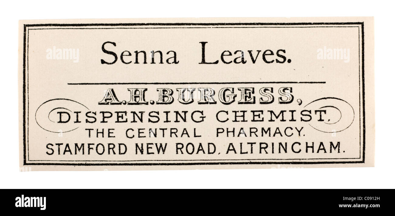 Old vintage chemist label for Senna leaves from A H Burgess of Altrincham. EDITORIAL ONLY - Stock Image