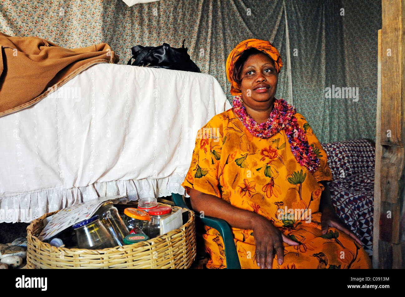 Healer and herbalist in the Mondesa township, Swakopmund town, Namibia, Africa - Stock Image