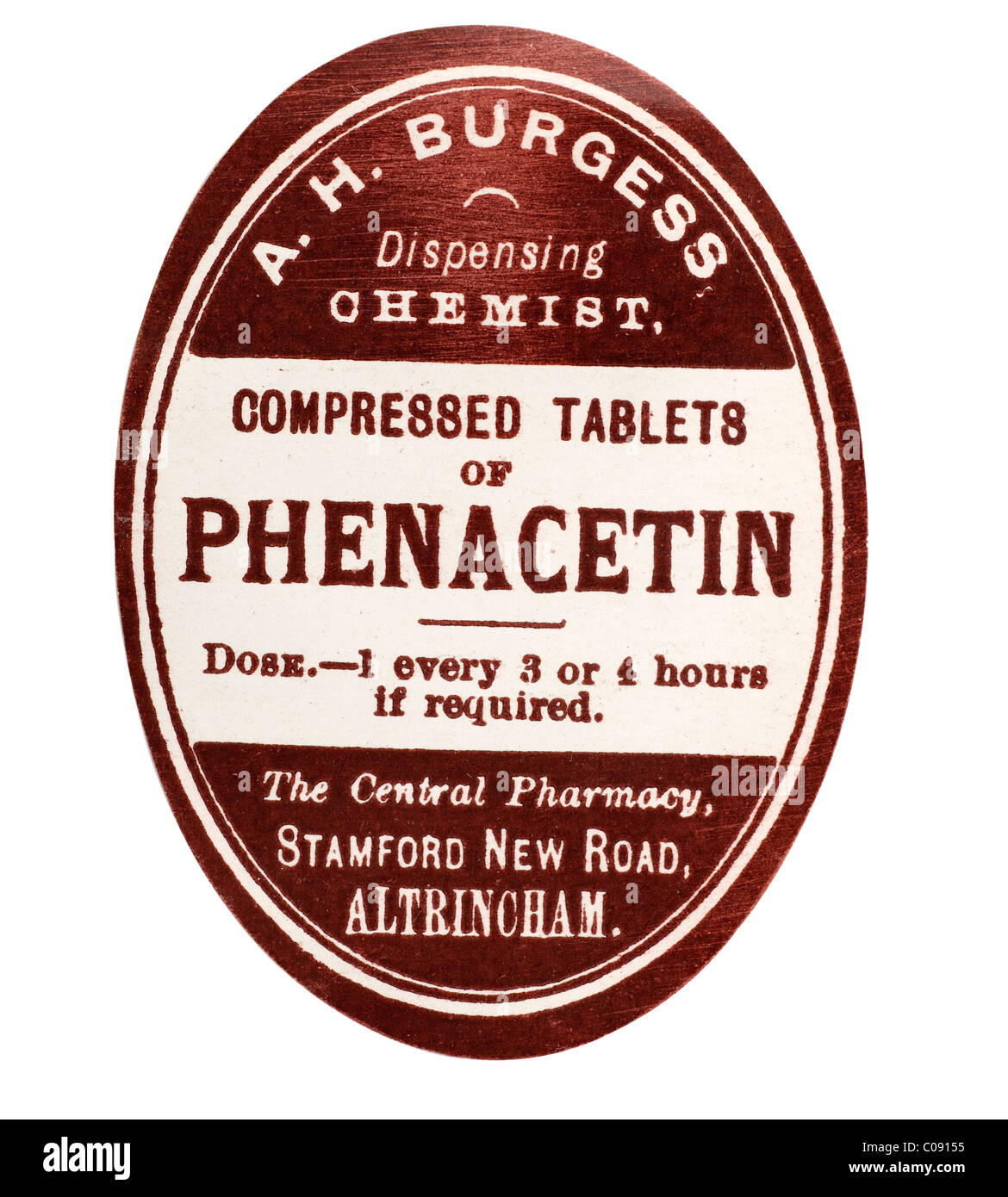 Old vintage chemist label for Phenacetin from A H Burgess of Altrincham. EDITORIAL ONLY - Stock Image