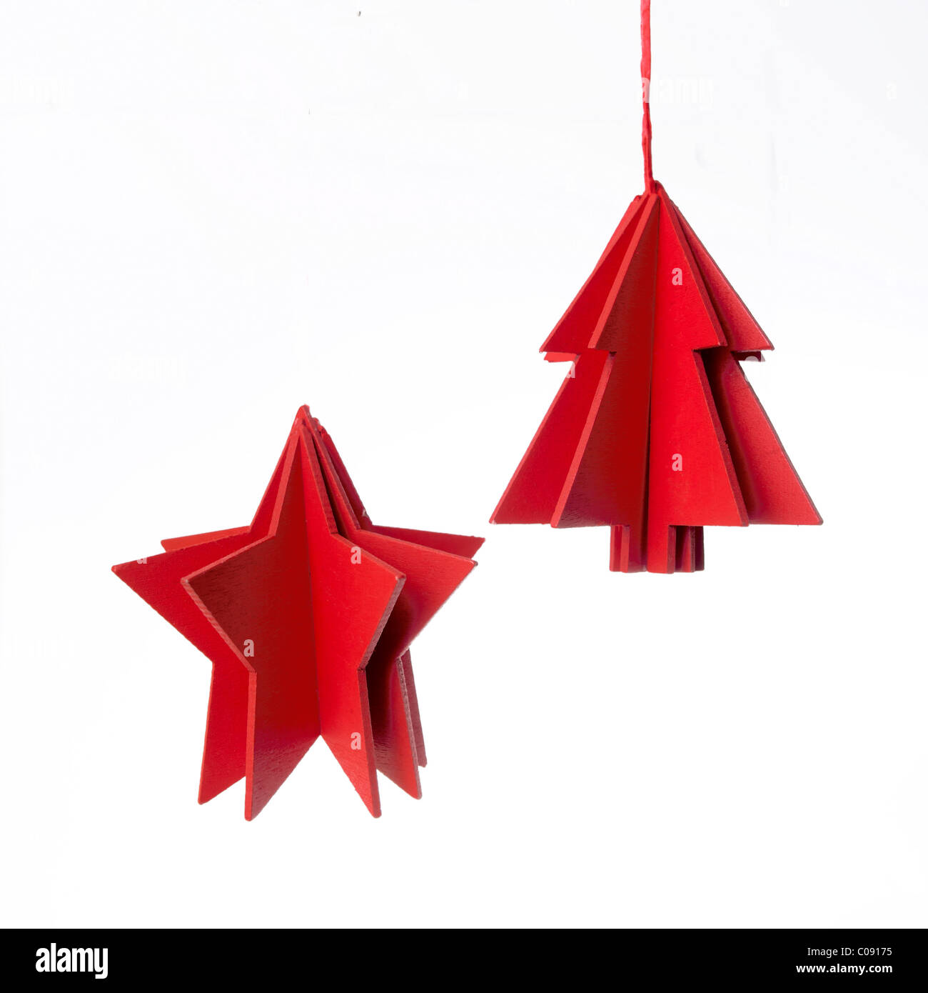 Simple red Christmas decorations - Stock Image