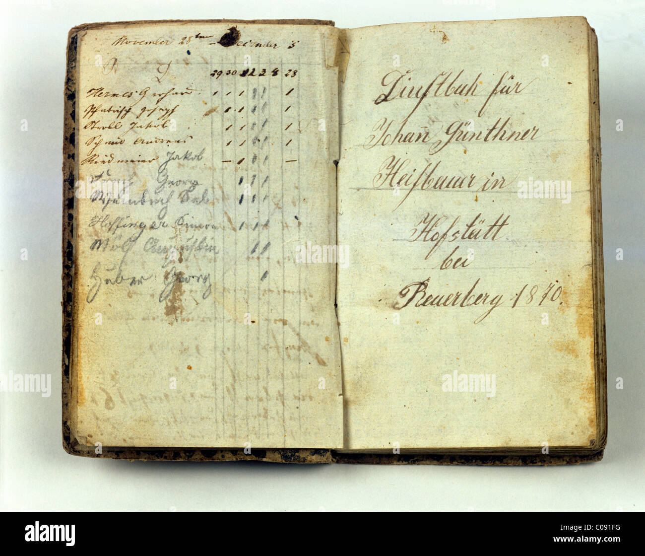 Title page from 1870, servant's book from Hofstett, Beuerberg, Upper Bavaria, Germany, Europe - Stock Image