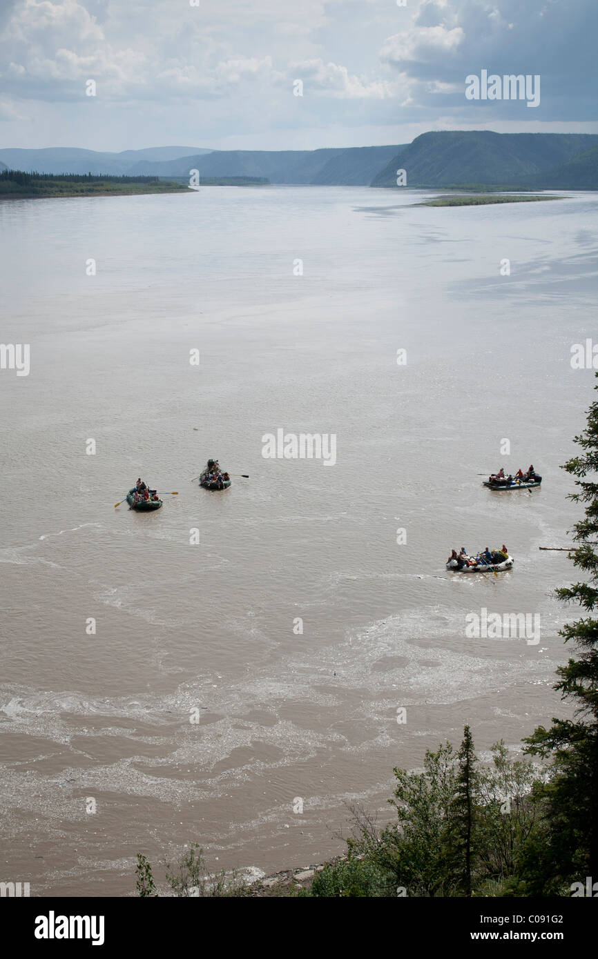 Families float down Yukon River in Yukon-Charley Rivers National Preserve  Interior Alaska, Summer - Stock Image