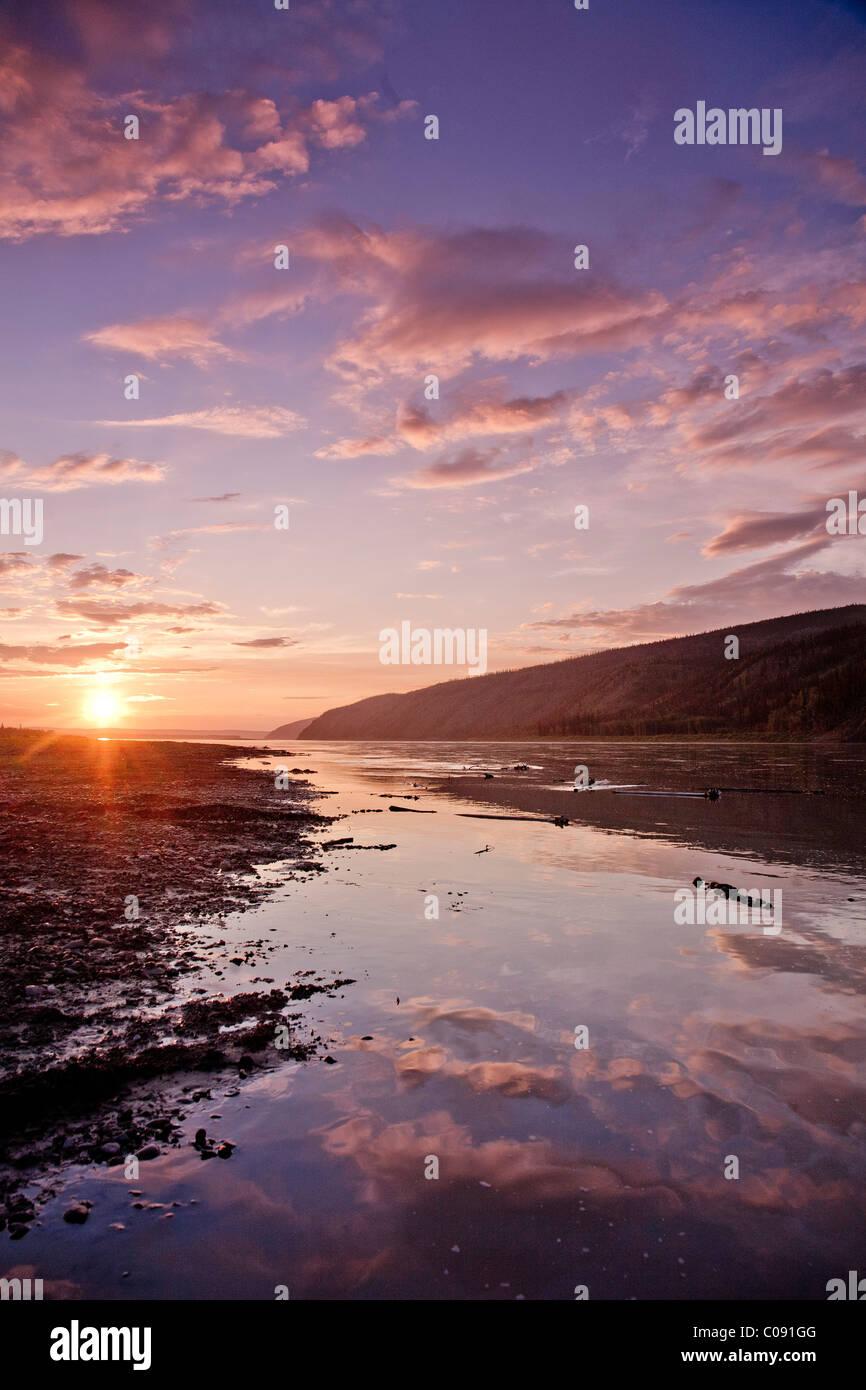 Sunset over the Yukon River in Yukon-Charley Rivers National Preserve  Interior Alaska, Summer - Stock Image
