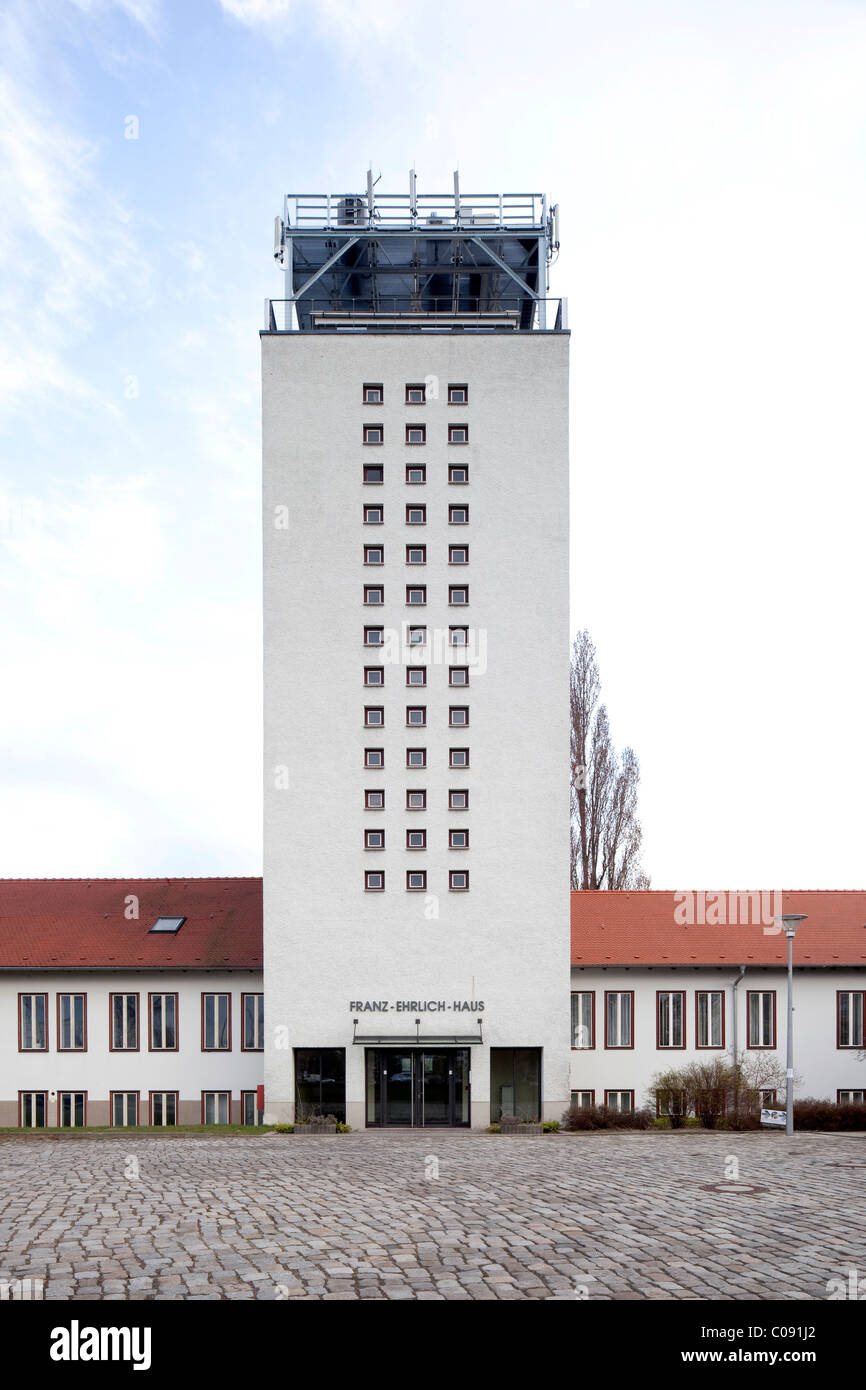 Television Centre Berlin-Adlershof, transmission tower, studio building, Deutscher Fernsehfunk, DFF Stock Photo