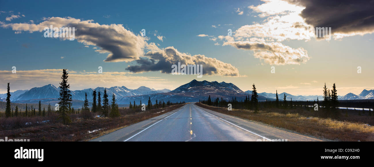 View of the George Parks Highway as it passes through the Alaska Range foothills in Broad Pass, Alaska - Stock Image