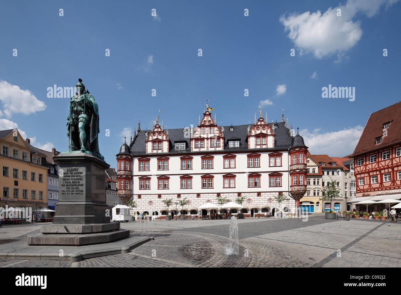 Prince Albert Memorial and City Hall on Marktplatz square, Coburg, Upper Franconia, Franconia, Bavaria, Germany, - Stock Image