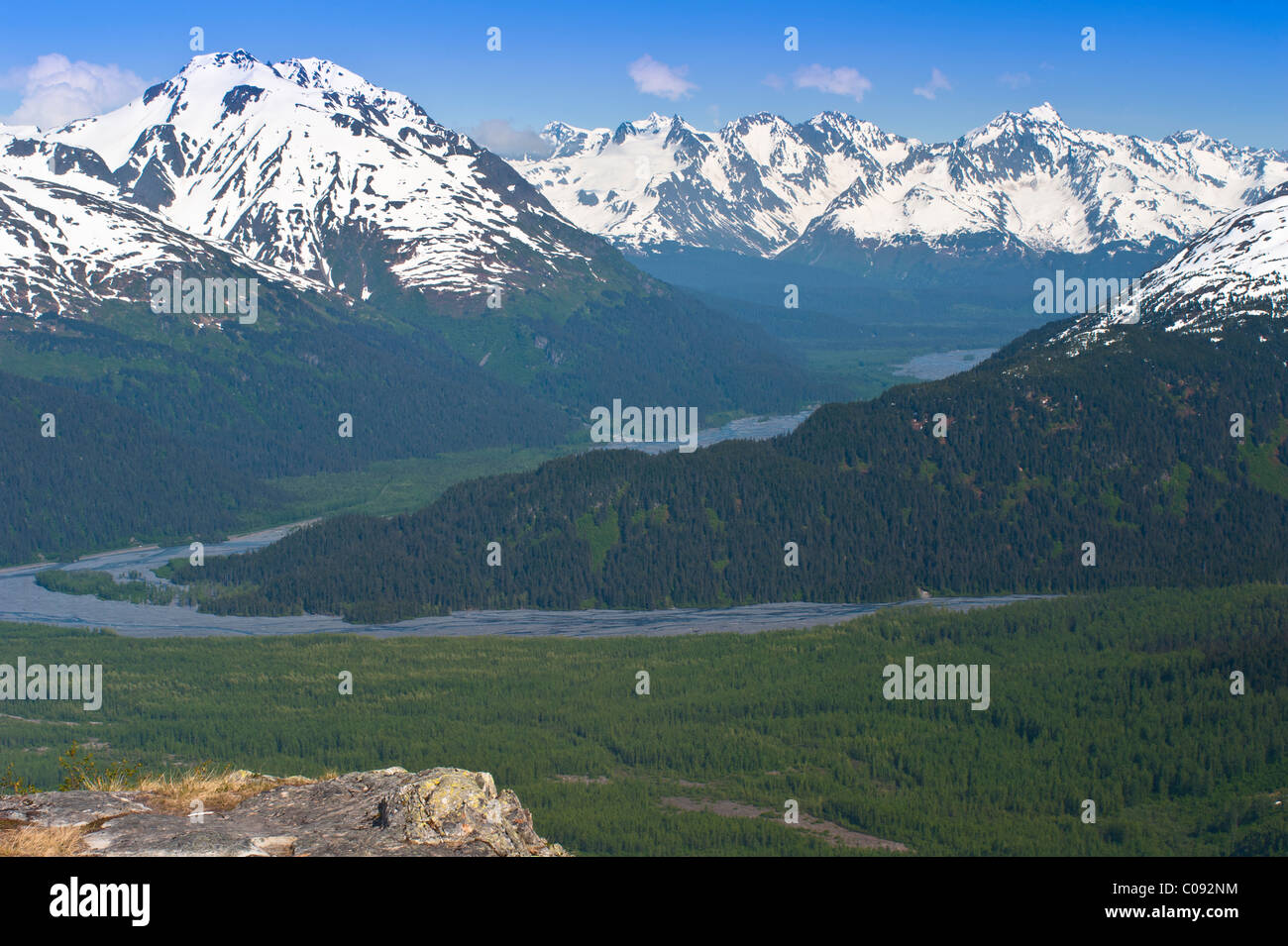 Scenic view of Resurrection Valley, Harding Ice Field trail in Kenai Fjords National Park, Kenai Peninsula, Alaska - Stock Image
