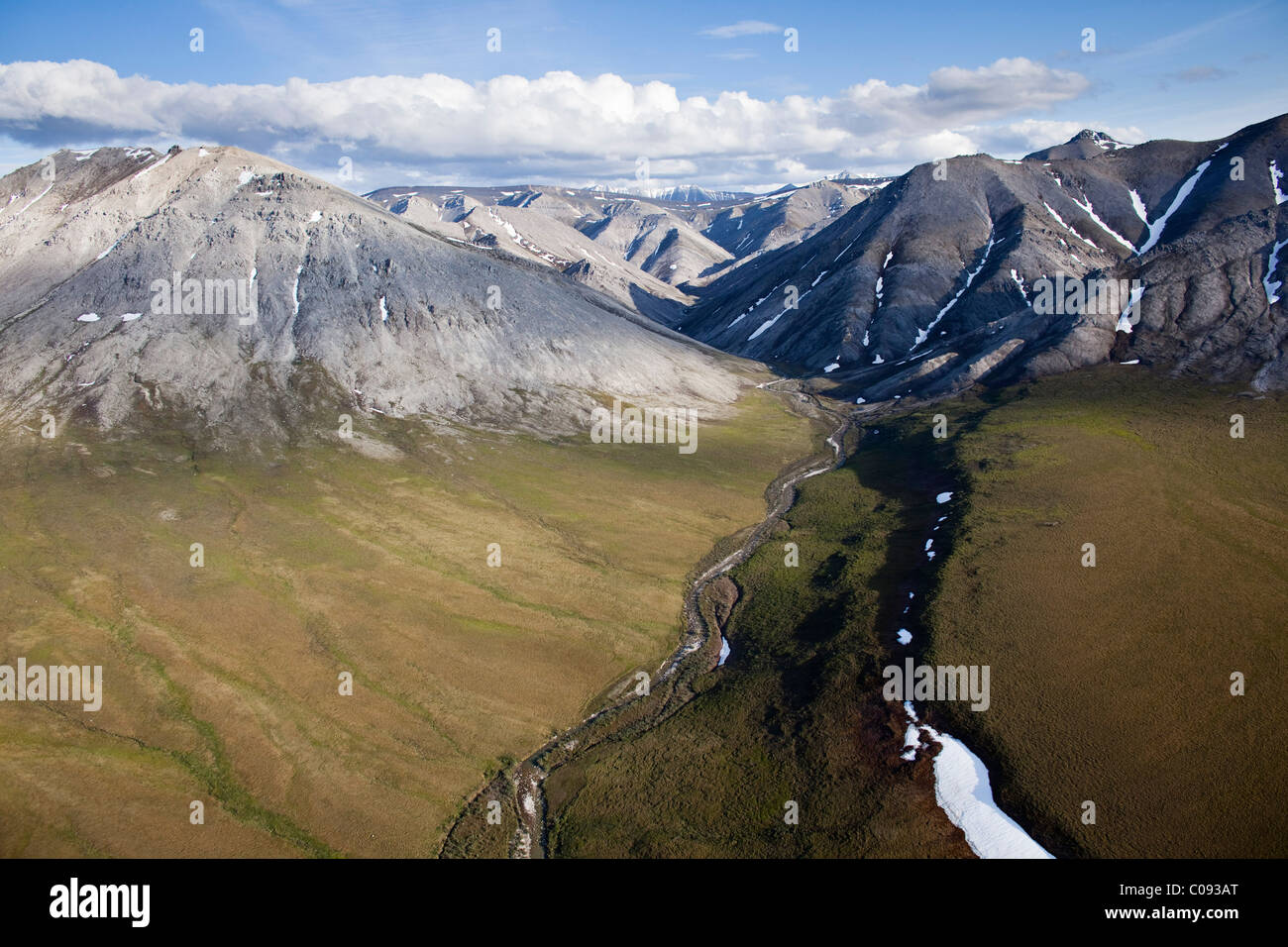 Aerial view of the Tamayariak River and the Sadlerochit Mountains in the Arctic National Wildlife Refuge, Alaska - Stock Image