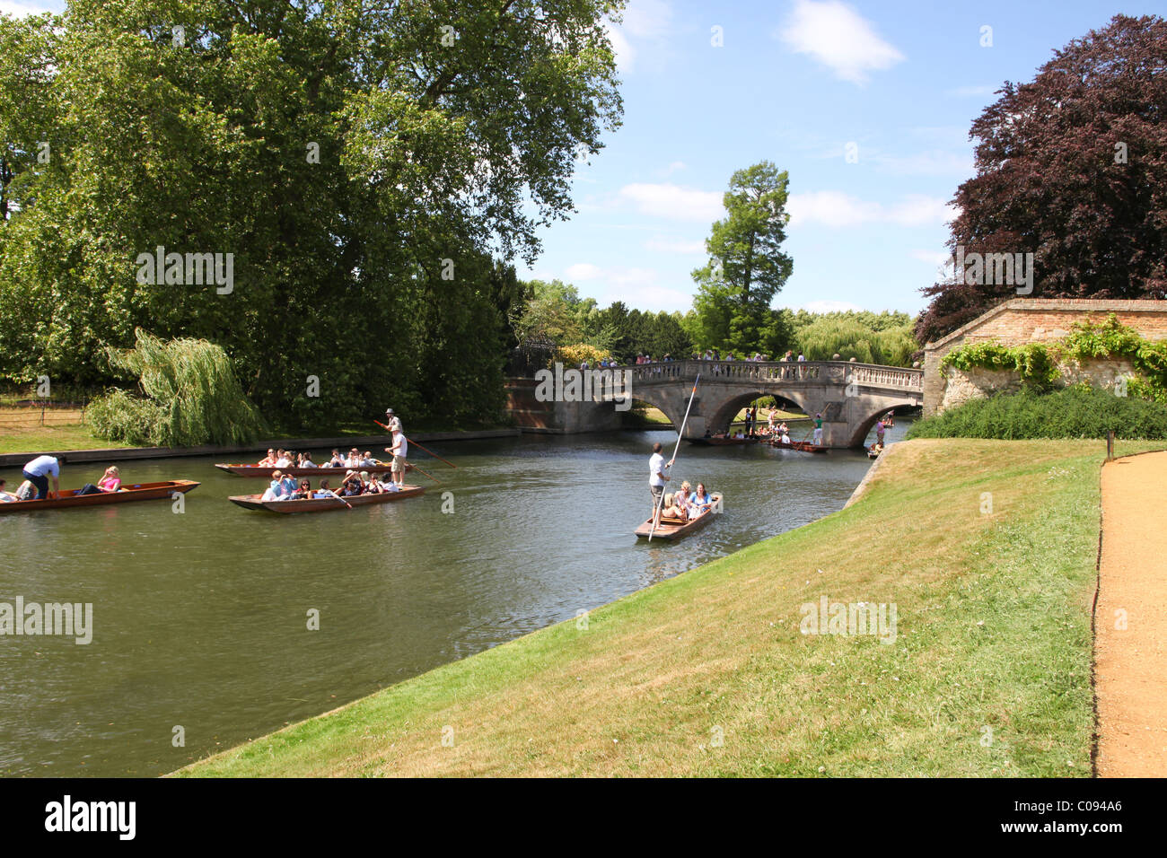Punters with tourists in Cambridge - Stock Image