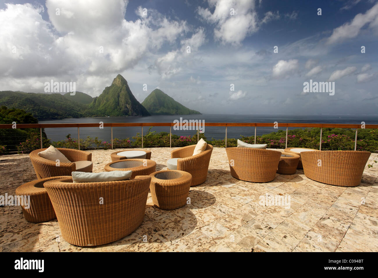 Roof terrace, Dedon, furniture, natural stone floor, hemisphere, Pitons mountains, Jade Mountain luxury hotel, Saint - Stock Image