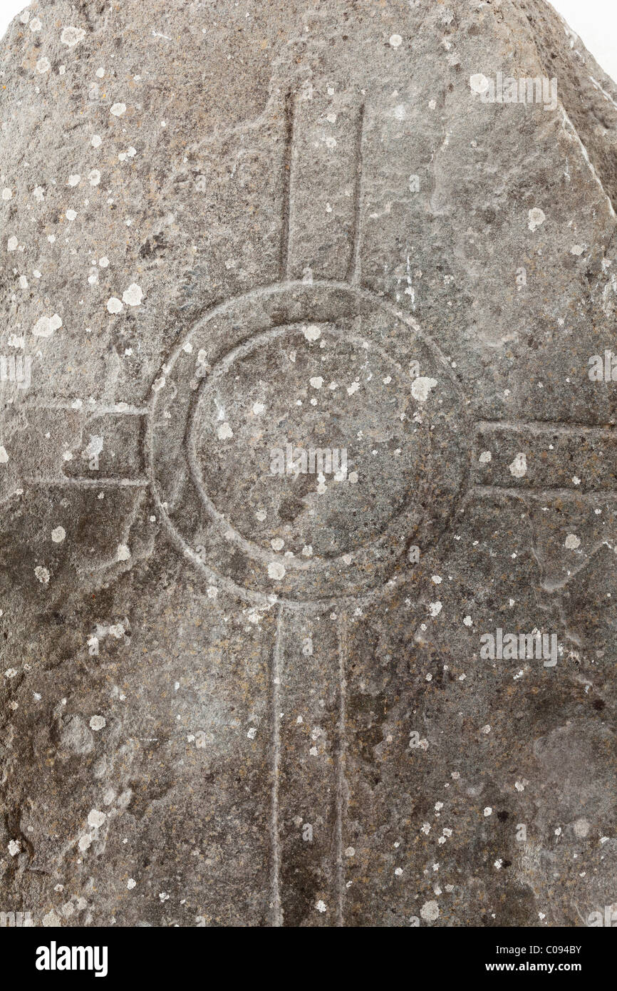 Cross carved into stone, early Middle Ages, Ardfert Cathedral, County Kerry, Ireland, British Isles, Europe - Stock Image