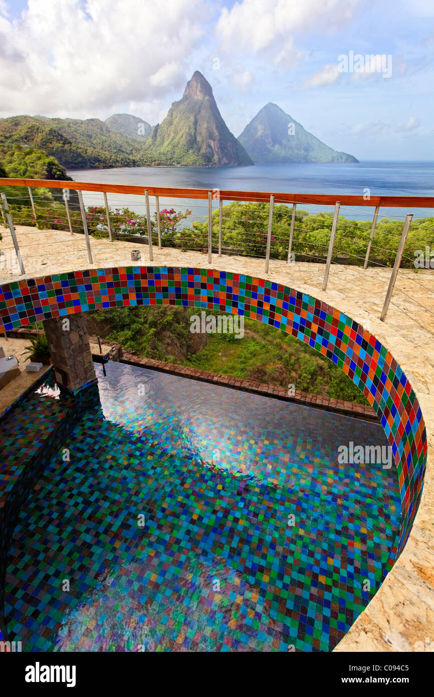 Roof terrace, pool, glazed tiles, Pitons mountains, Jade Mountain luxury hotel, Saint Lucia, Windward Islands, Lesser - Stock Image