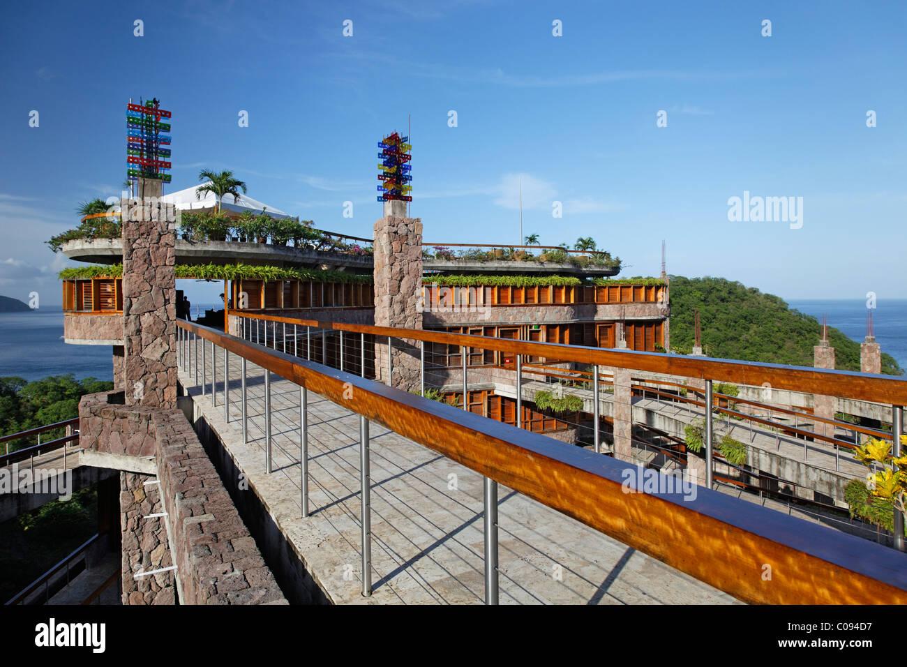 Bridge to restaurant, Jade Mountain luxury hotel, Saint Lucia, Windward Islands, Lesser Antilles, Caribbean, Caribbean Sea Stock Photo