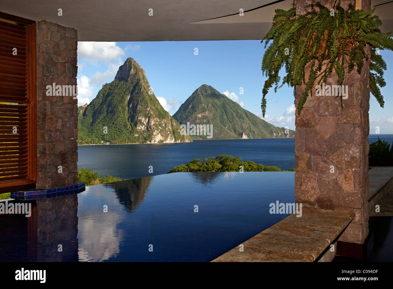 Infinity pool in suite, Pitons mountains, Jade Mountain luxury hotel, Saint Lucia, Windward Islands, Lesser Antilles, - Stock Image